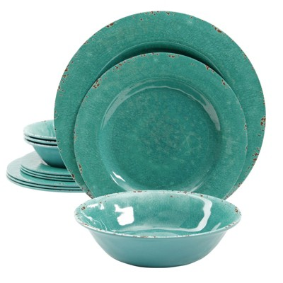 Mauna 12 Piece Dinnerware Set in Cobalt Blue