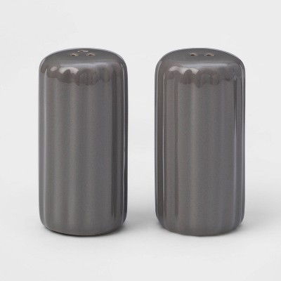 2pc Stoneware Ribbed Salt and Pepper Shaker Set Gray - Threshold™