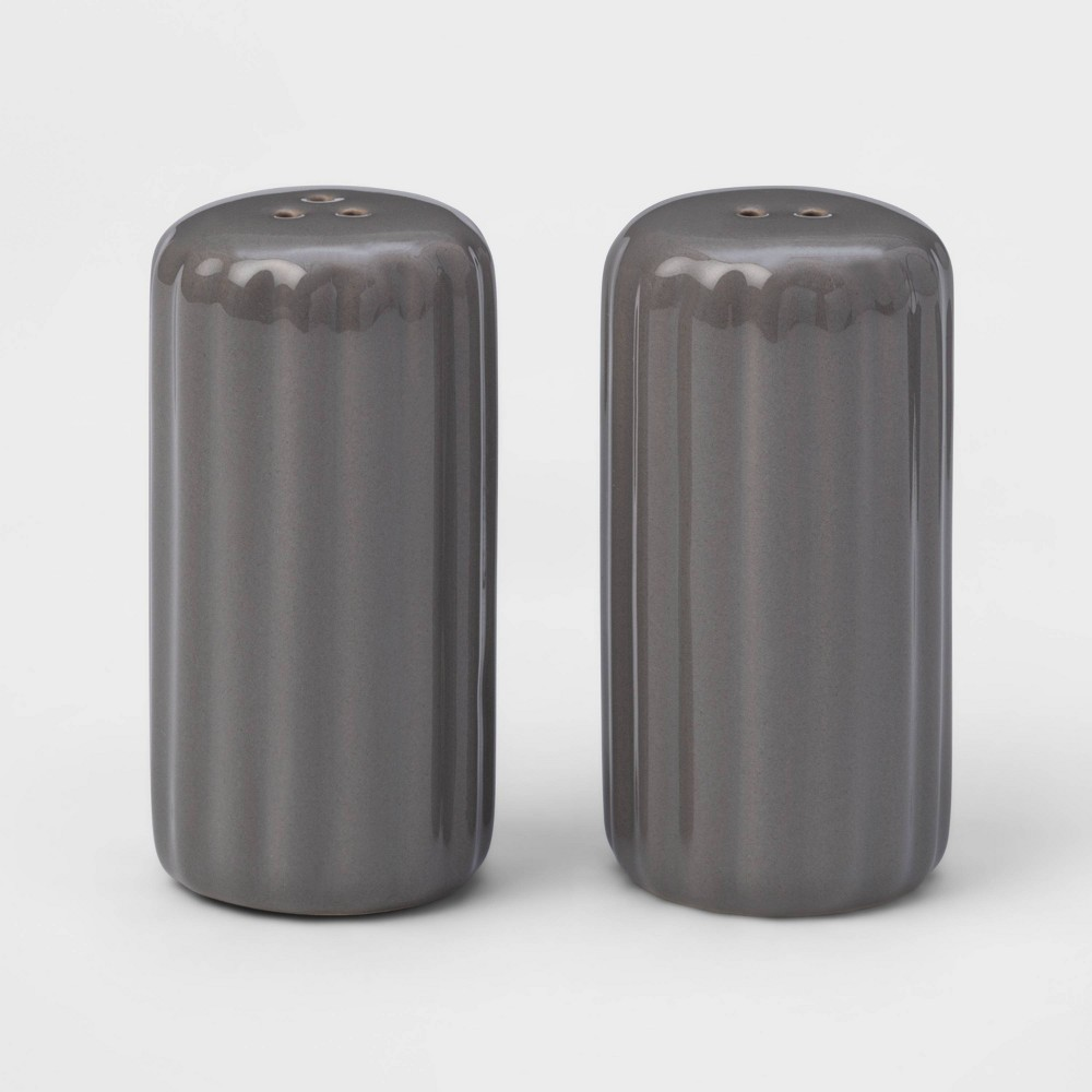 Image of 2pc Stoneware Ribbed Salt and Pepper Shaker Set Gray - Threshold