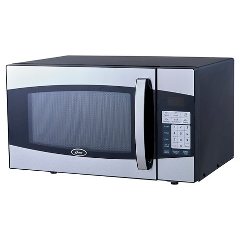 Oster 0 9 Cu Ft 900 Watt Digital Microwave Oven Black Stainless Steel Oxf0901