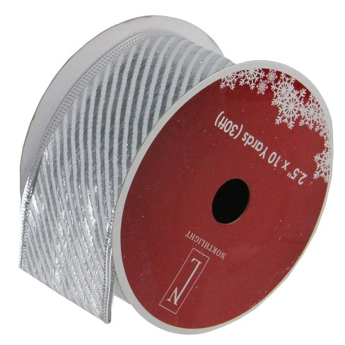 """Northlight Shiny Silver Diagonal Striped Wired Christmas Craft Ribbon 2.5"""" x 10 Yards - image 1 of 3"""