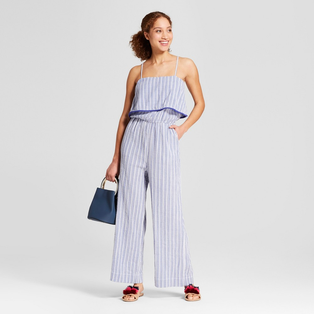 Women's Striped Jumpsuit - A New Day Blue/White M