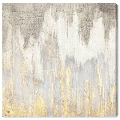 "12"" x 12"" Golden Caves Abstract Unframed Canvas Wall Art in Gray - Oliver Gal"