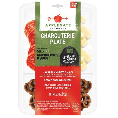 Applegate Natural Charcuterie Plate with Uncured Chorizo Salami, Cheddar Cheese & Chocolate Covered Pretzels - 10oz