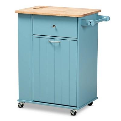 Liona Sky Wood Kitchen Storage Cart Blue/Natural - Baxton Studio