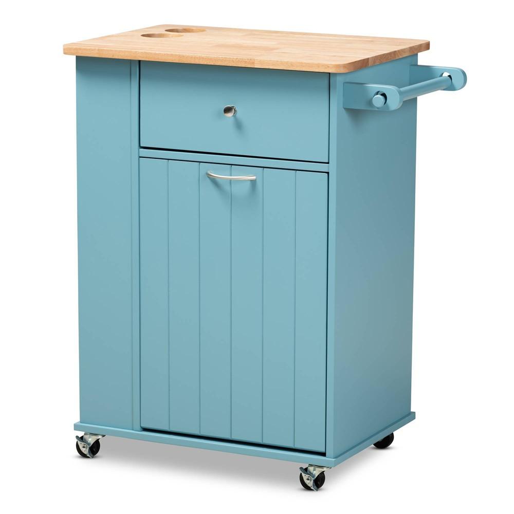 Liona Sky Wood Kitchen Storage Cart Blue Natural Baxton Studio