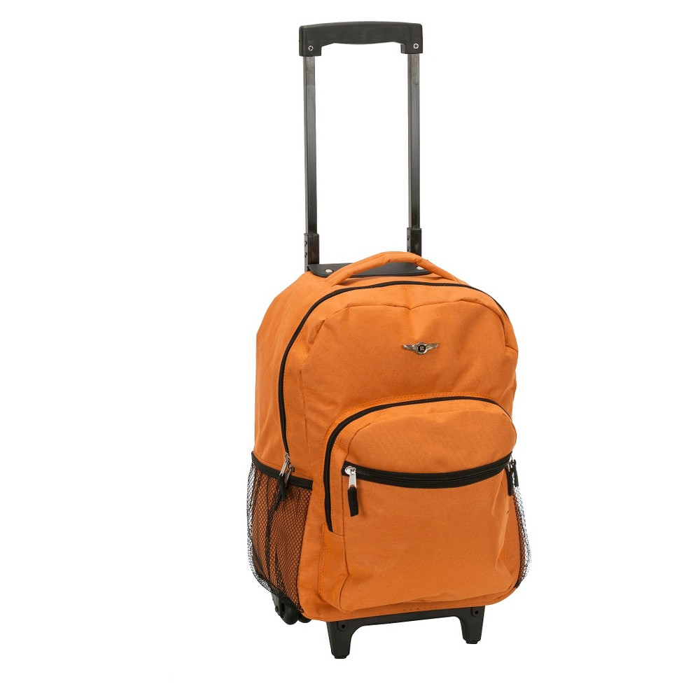 Rockland 17 Roadster Rolling Backpack Orange