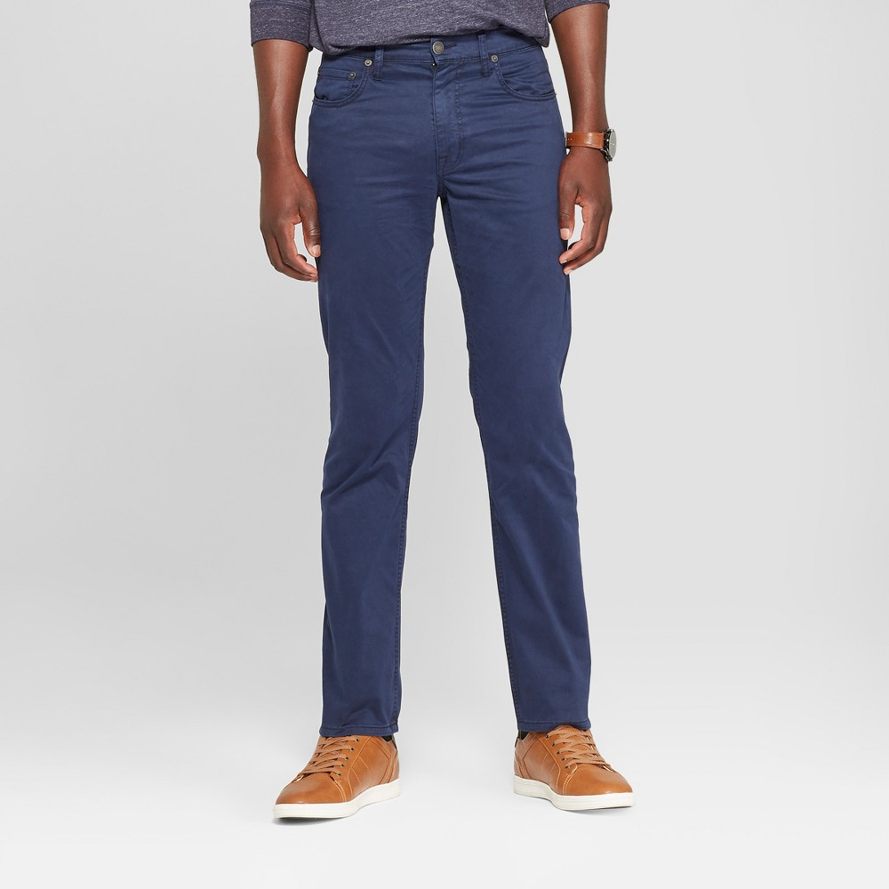 Men's Slim Straight Fit Twill Pants - Goodfellow & Co Navy 34x32, Blue