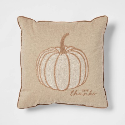 Embroidered Pumpkin Square Throw Pillow Neutral - Threshold™