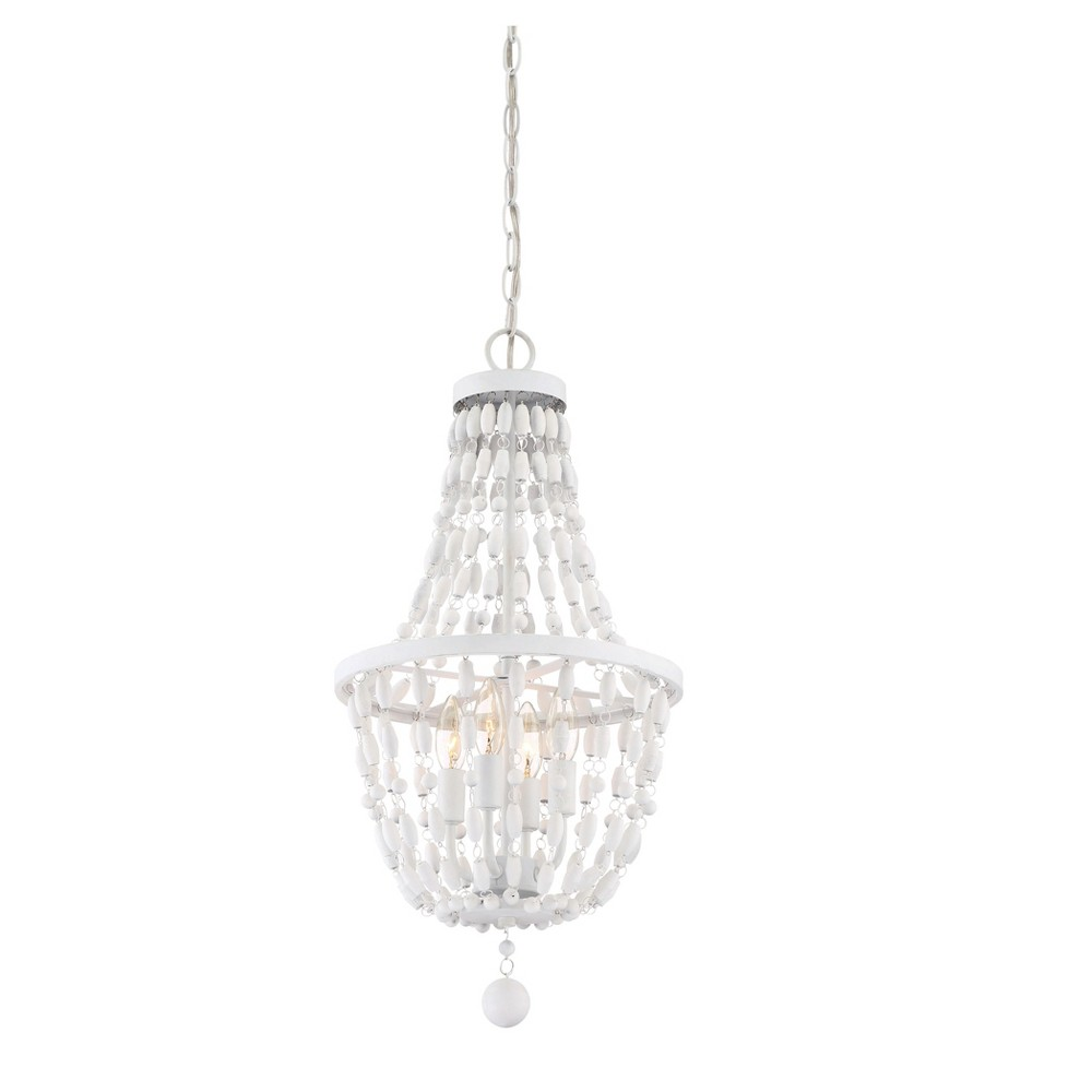 Textured Bisque White Pendant Ceiling Lights with White Beads (Set of 4) - Filament Design