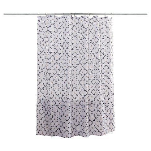 Anchors Shower Curtain White Navy Chest Gold