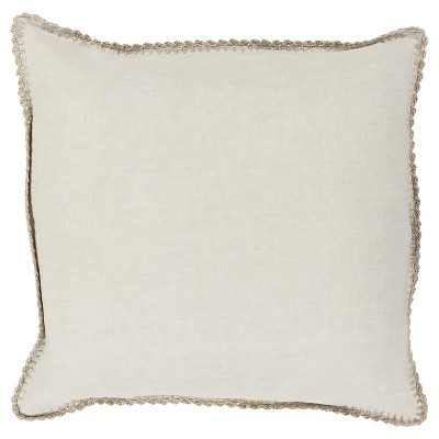 Ivory Velletri Crotchet Throw Pillow 18 x18  - Surya