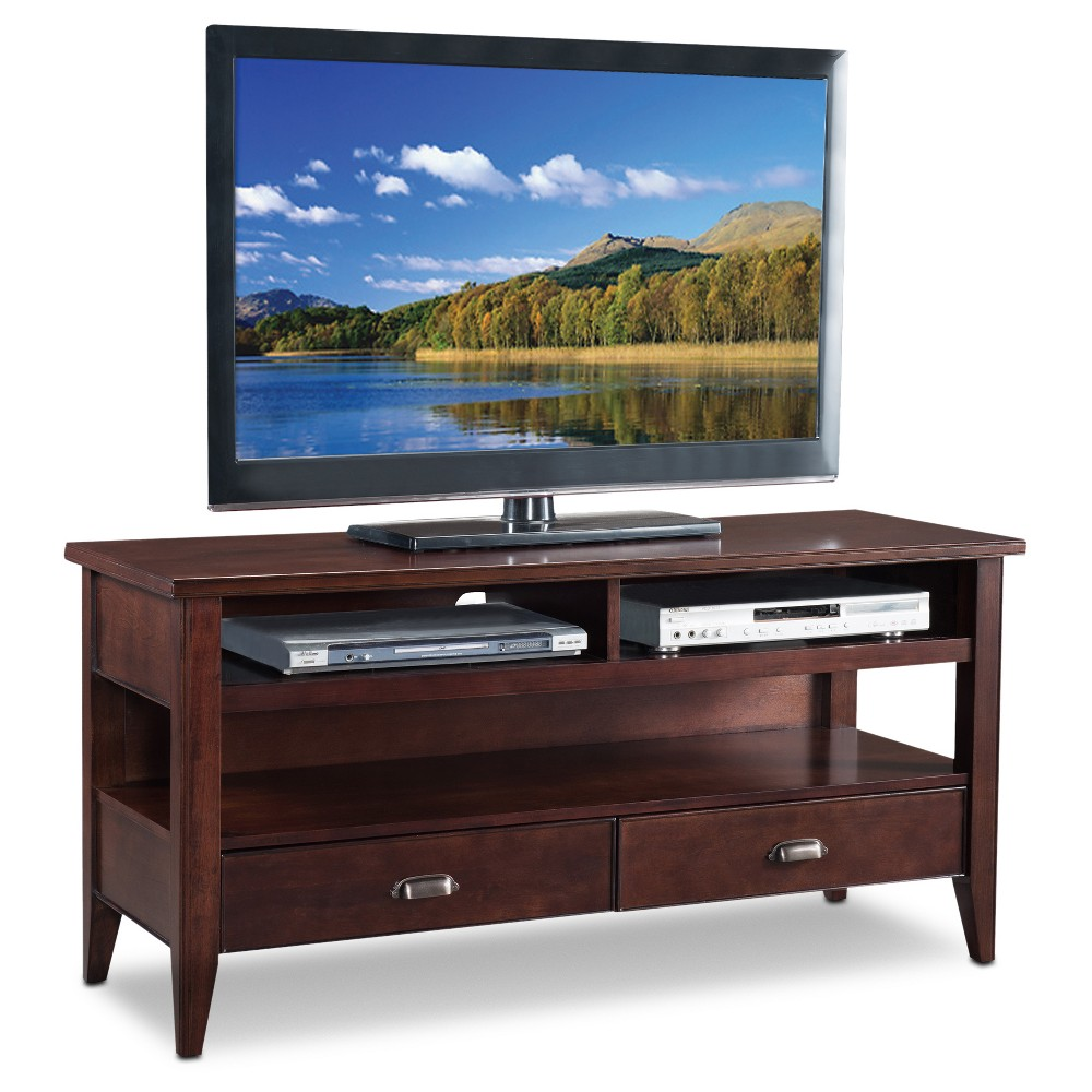 "Image of ""50"""" Laurent TV Stand - Chocolate Cherry - Leick Home, Red"""