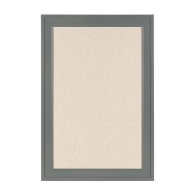 "19"" x 28"" Bosc Framed Linen Fabric Pinboard Gray - DesignOvation"