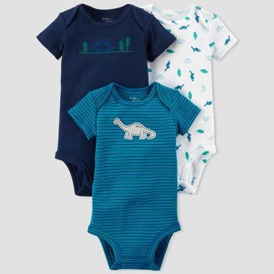 Baby Boys' 3pk Dino Bodysuit Set - little planet™ organic by carter's® Blue Stripe Newborn