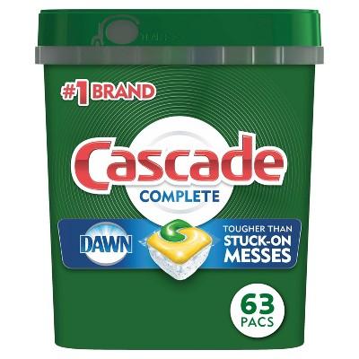 Cascade Complete ActionPacs Dishwasher Detergent - Lemon Scent - 63ct