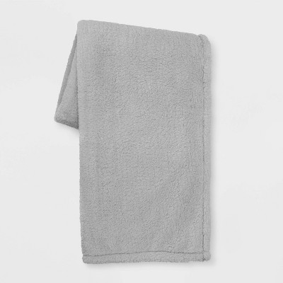 Sherpa Throw Blanket Gray - Room Essentials™