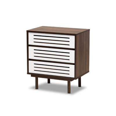 3 Drawer Meike Two-Tone Wood Nightstand Walnut/White - Baxton Studio