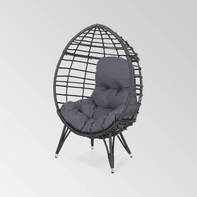 Santino Wicker Teardrop Chair Gray/Dark Gray - Christopher Knight Home