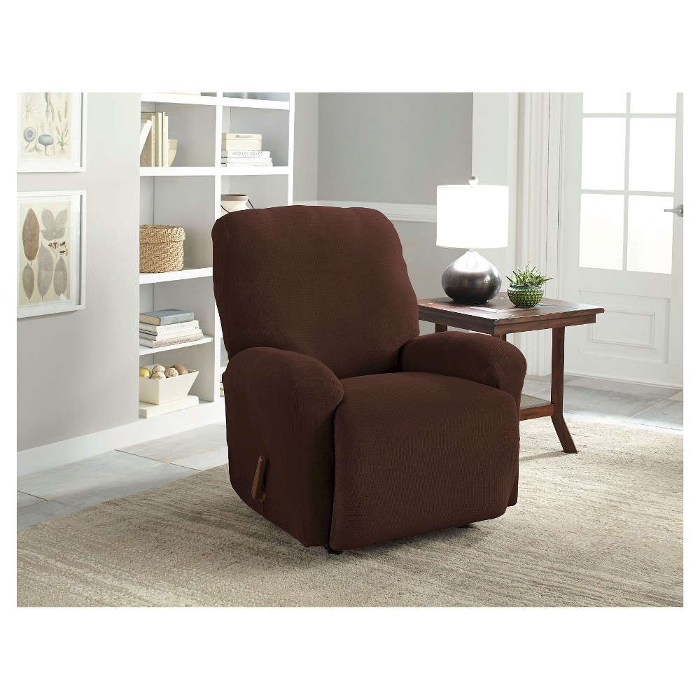 Image of Chocolate Stretch Grid Recliner Slipcover - Serta