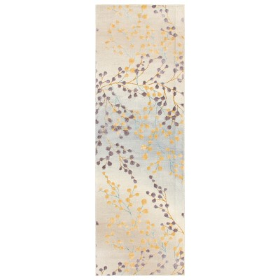 Contemporary Floral and Vine Indoor Living Room Accent Area Rug - Blue Nile Mills