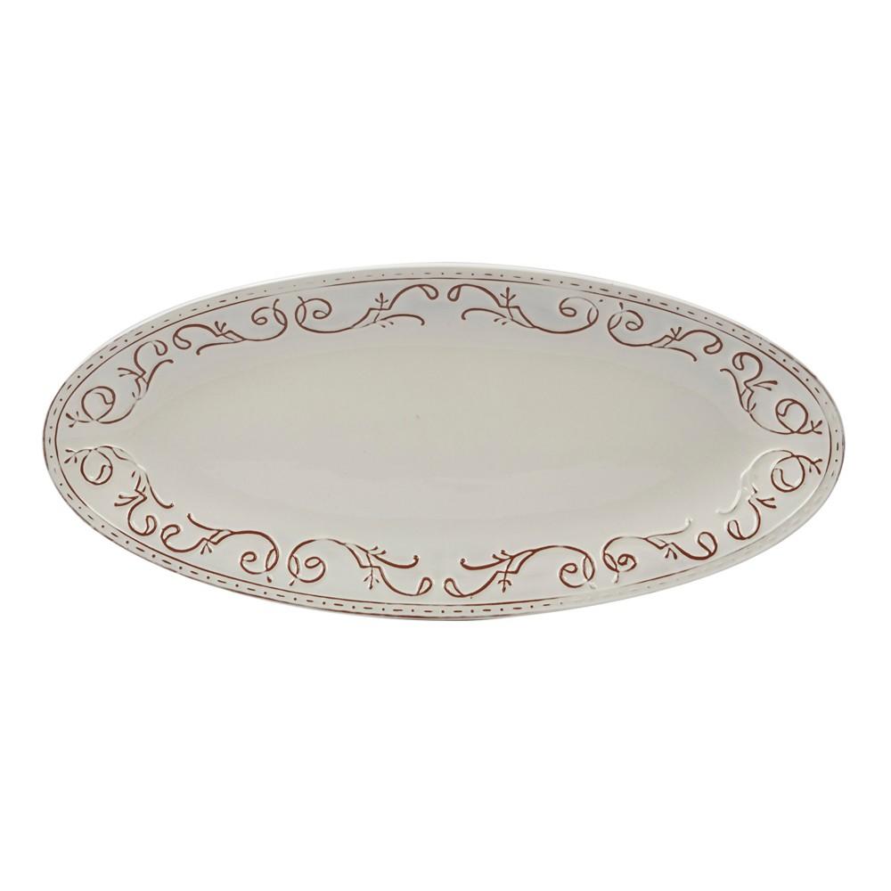 Certified International Terra Nova Oval Ceramic Serving Platter 18 x 8 - White/Brown