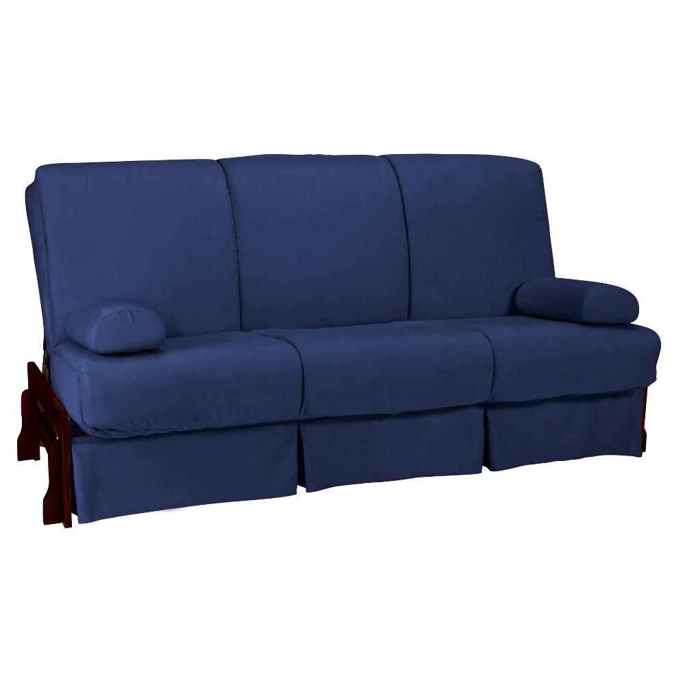 Low Arm Perfect Futon Sofa Sleeper Mahogany Wood Finish Dark Blue - Epic Furnishings