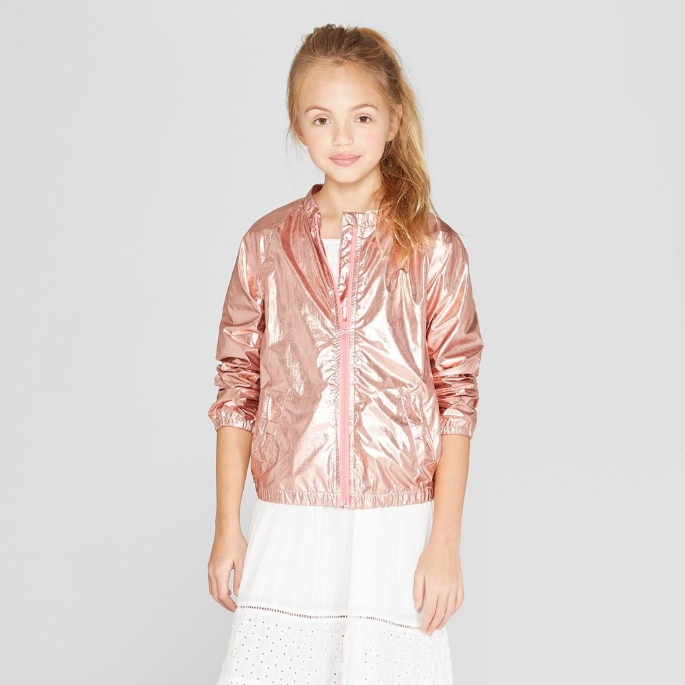 Girls' Long Sleeve Bomber Jacket - Cat & Jack Pink L