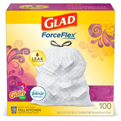 Glad ForceFlex White Trash Bags Gain Moonlight Breeze Scent with Febreze Freshness 13 Gallon - 100ct
