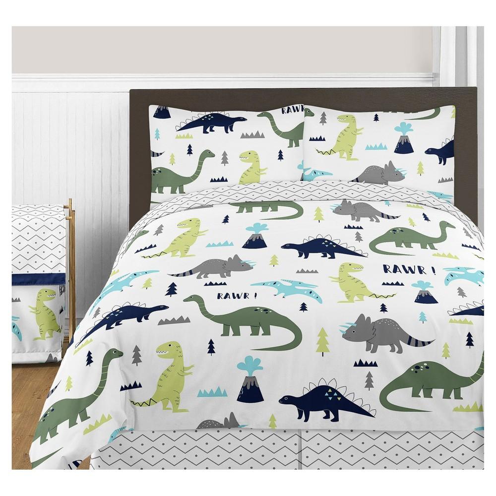 Blue & Green Mod Dinosaur Comforter Set (Full/Queen) - Sweet Jojo Designs
