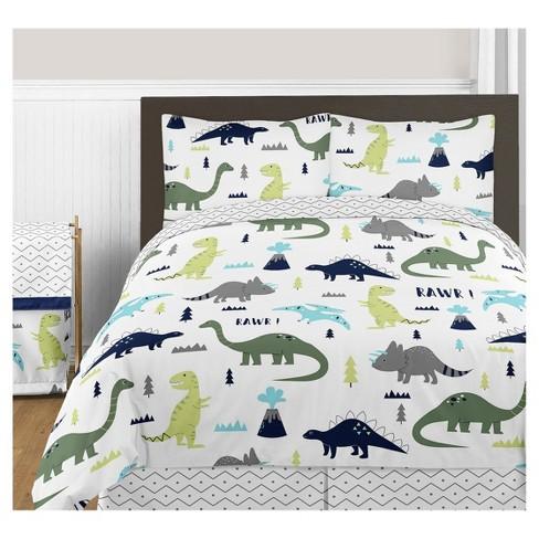 . Blue   Green Mod Dinosaur Comforter Set  Full Queen    Sweet Jojo Designs