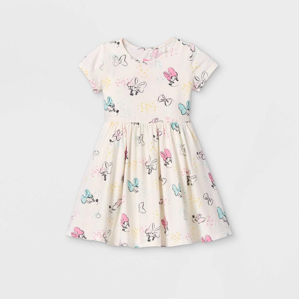 Toddler Girls 39 Minnie Mouse Short Sleeve Knit Dress Cream 2t