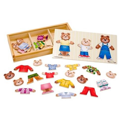 Melissa & Doug® Mix 'n Match Wooden Bear Family Dress-Up Puzzle With Storage Case (45pc) - image 1 of 3