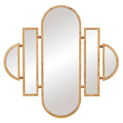 "30"" x 31"" Antique Geometric Oval Vanity Decorative Wall Mirror Gold - Patton Wall Decor"