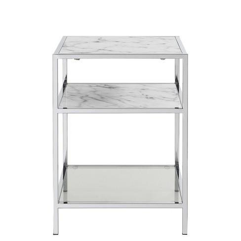 Gold Coast Carrara End Table Faux Marble White/Glass - Johar Furniture - image 1 of 4