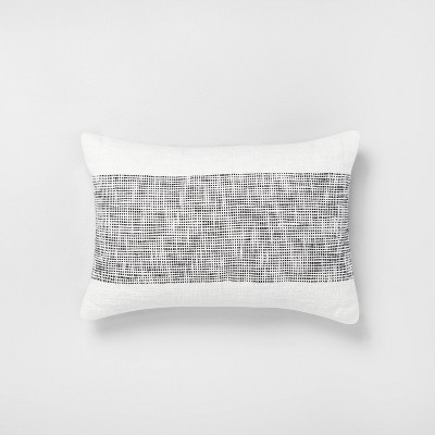 "14"" x 20"" Textured Lumbar Throw Pillow Railroad Gray / Sour Cream - Hearth & Hand™ with Magnolia"