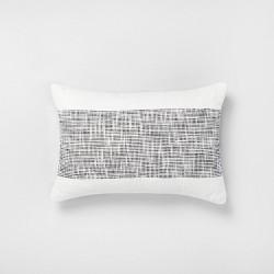 14x20 Textured Lumbar Throw Pillow Railroad Gray / Sour Cream - Hearth & Hand™ with Magnolia