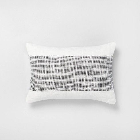 """14"""" x 20"""" Textured Lumbar Throw Pillow Railroad Gray / Sour Cream - Hearth & Hand™ with Magnolia - image 1 of 4"""