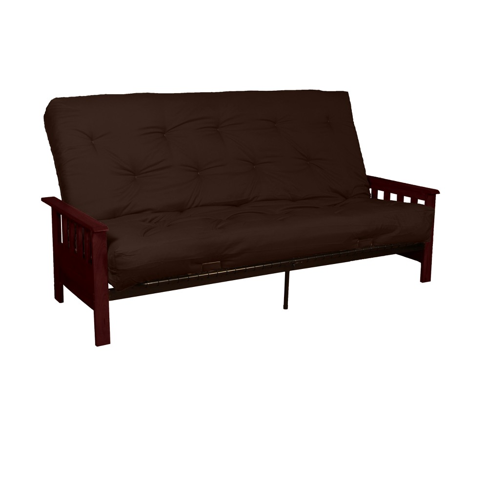 Mission 8 Inner Spring Futon Sofa Sleeper - Mahogany Wood Finish - Twill Brown Upholstery - Full-Size - Epic Furnishings, Brandywine