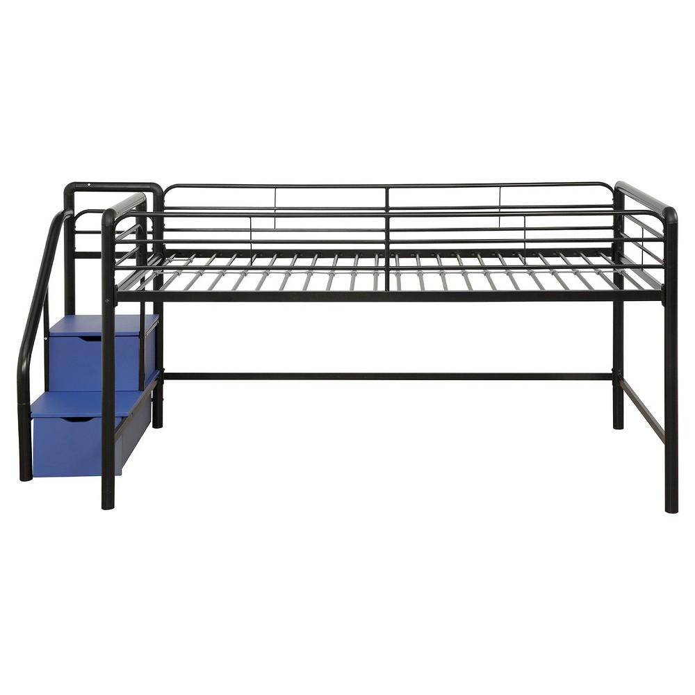Twin Jamie Junior Loft bed with Storage Steps Black - Room & Joy, Black/Blue