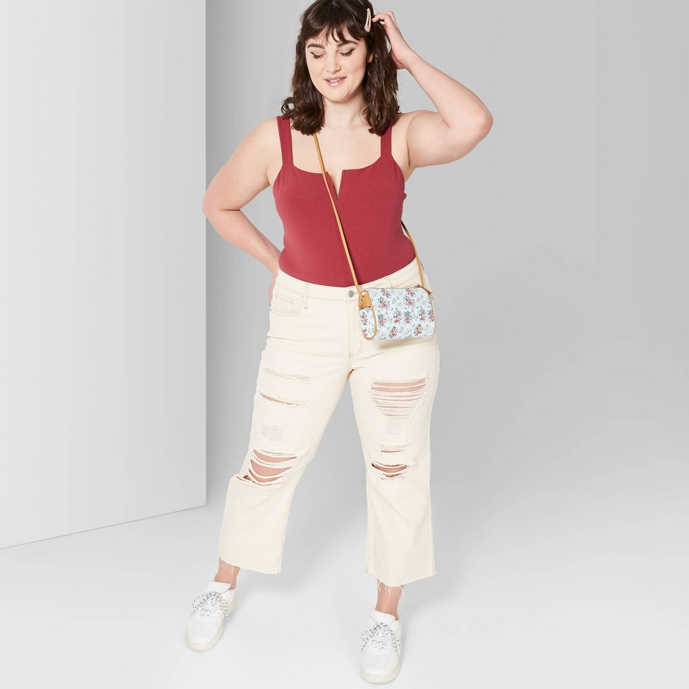 Women's Plus Size High-Rise Destructed Wide Leg Cropped Denim Pants - Wild Fable Beige 26W, White