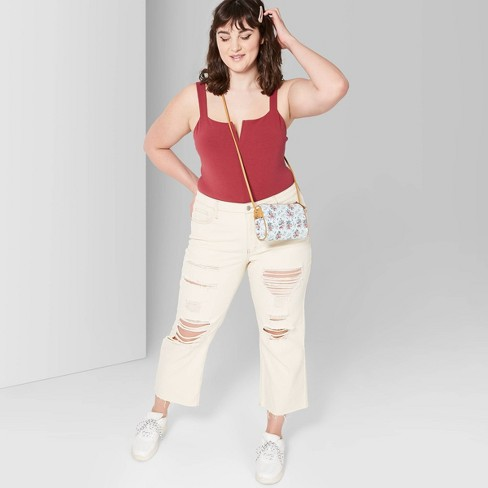 3302bea2ca Women s Plus Size High-Rise Distressed Wide Leg Cropped Denim Pants - Wild  Fable™ Beige 26W   Target