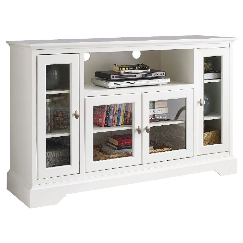 52 Wood Highboy TV Media Stand Storage Console - White - Saracina Home
