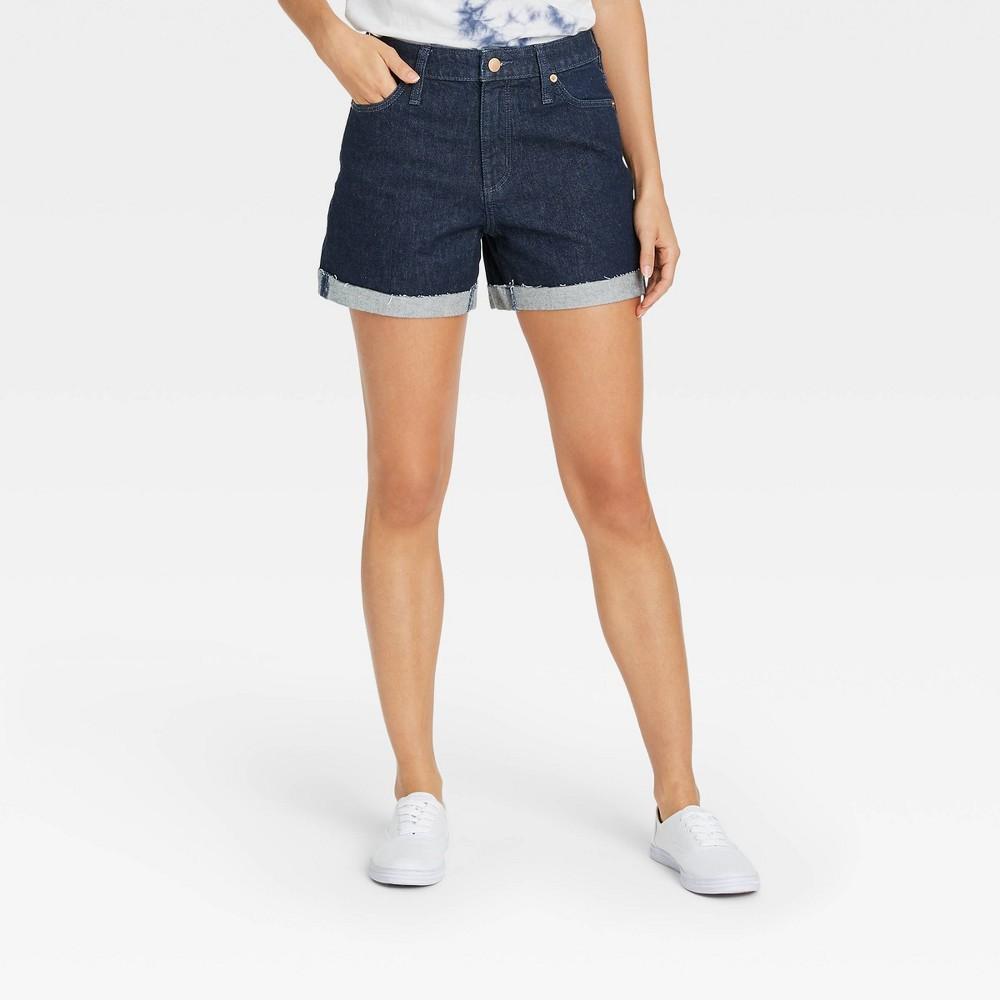 Women 39 S High Rise Jean Shorts Universal Thread 8482 Dark Blue 6