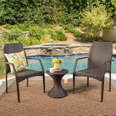 Landry 3pc Wicker Chat Set - Multibrown - Christopher Knight Home