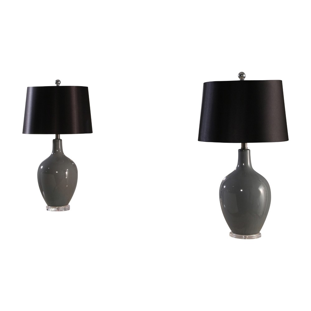 Abbyson Living Set of 2 Suzette Ceramic Table Lamps Gray