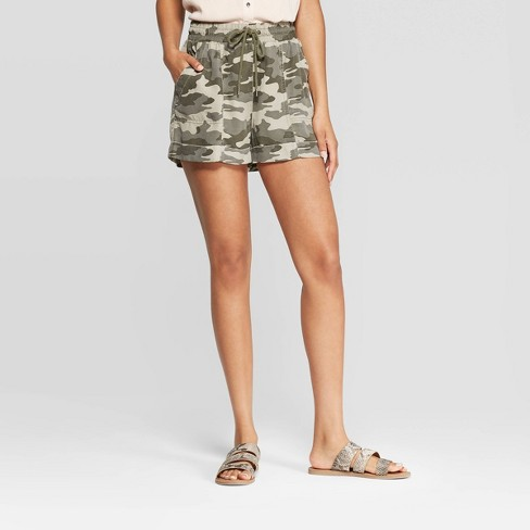 Women's Mid-Rise Inseam Camo Utility Shorts - Universal Thread™ Olive - image 1 of 6