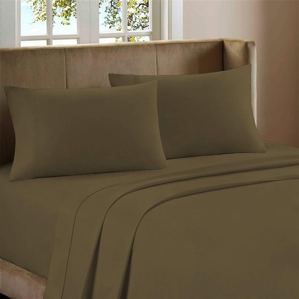 Queen 800 Thread Count Cotton Rich Sateen Sheet Set Dark Linen Color Sense