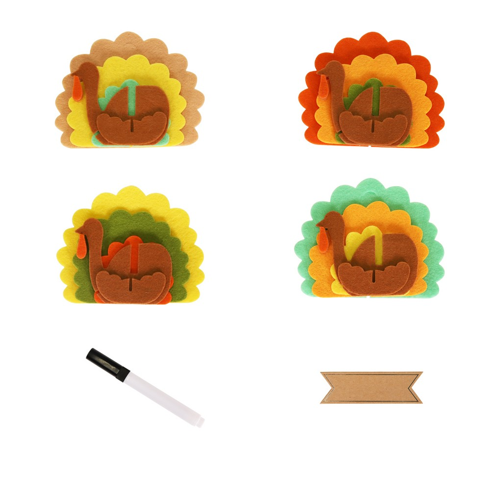 4ct Thanksgiving Felt Turkey Place Card Holder, Multi-Colored