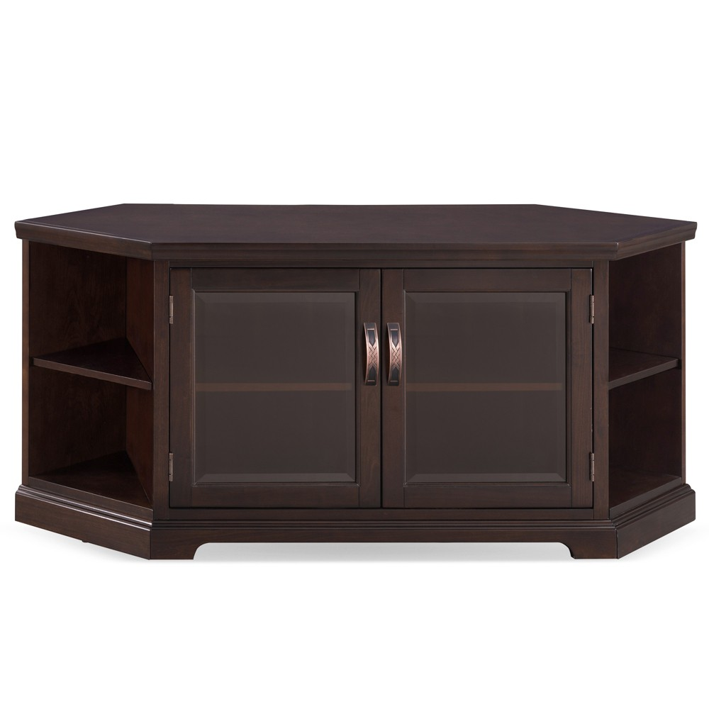 56 Corner TV Console with Bookcase Chocolate Cherry - Leick Home